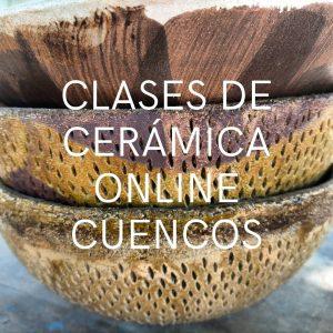 Tres cuencos de cerámica grandes con forma de media esfera, con tacto suave e irregular por las incisiones cortas y juntas.