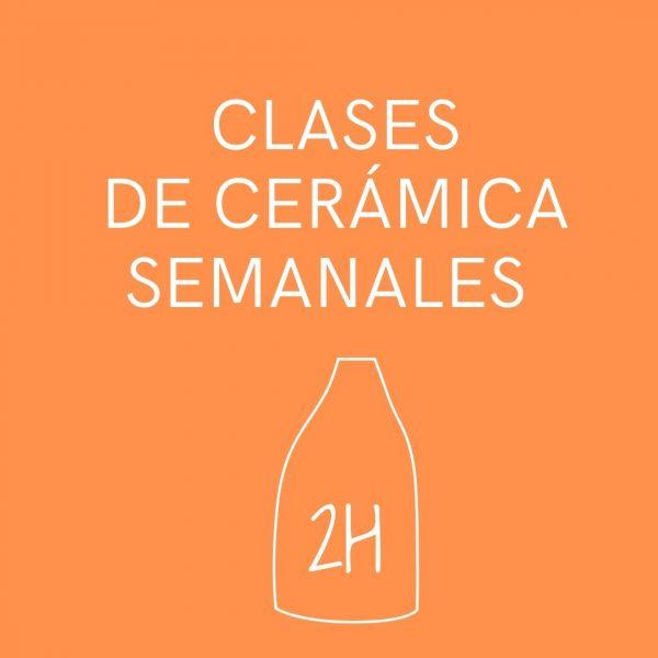 Cartel naranja de cases de cerámica semanales de dos horas de duración.