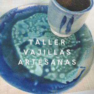 plato azul y turquesa con cuenco a juego realizados en cerámica a mano